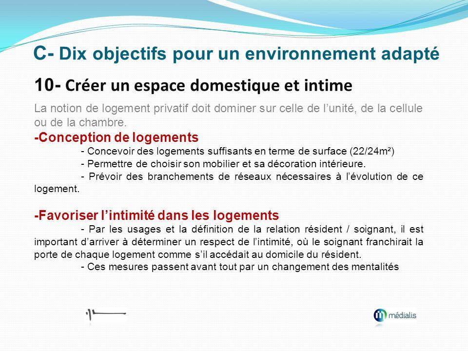 C- Dix objectifs pour un environnement adapté 10- Créer un espace domestique et intime La notion de logement privatif doit dominer sur celle de lunité