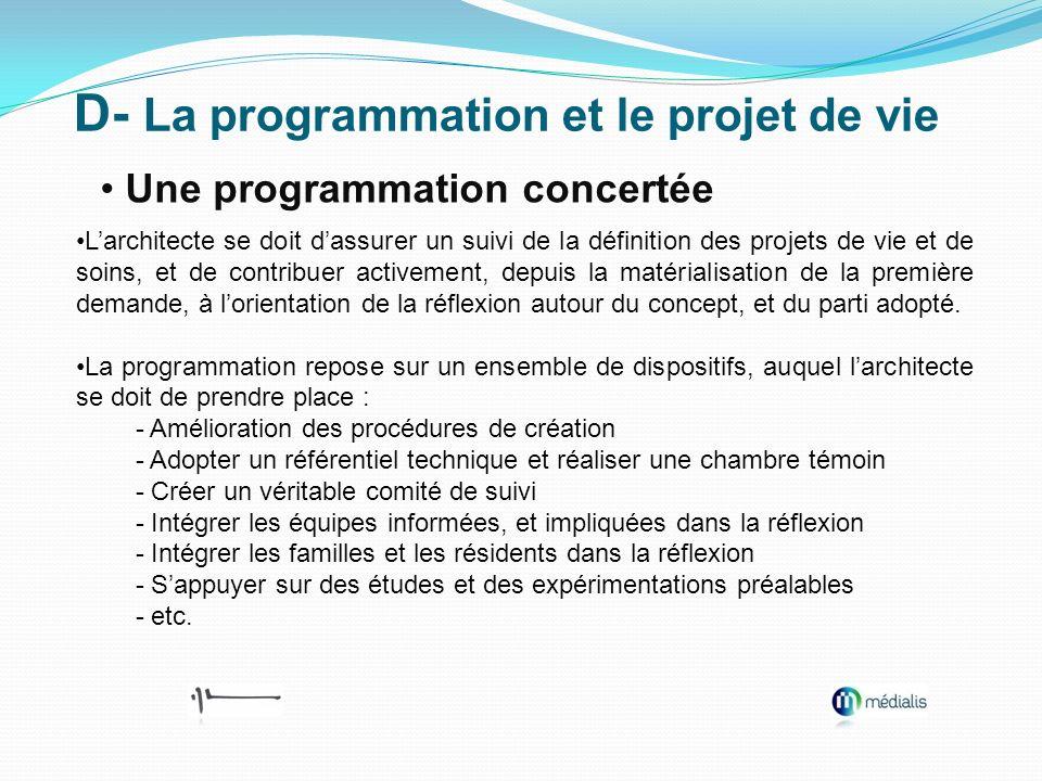 D- La programmation et le projet de vie Une programmation concertée Larchitecte se doit dassurer un suivi de la définition des projets de vie et de so