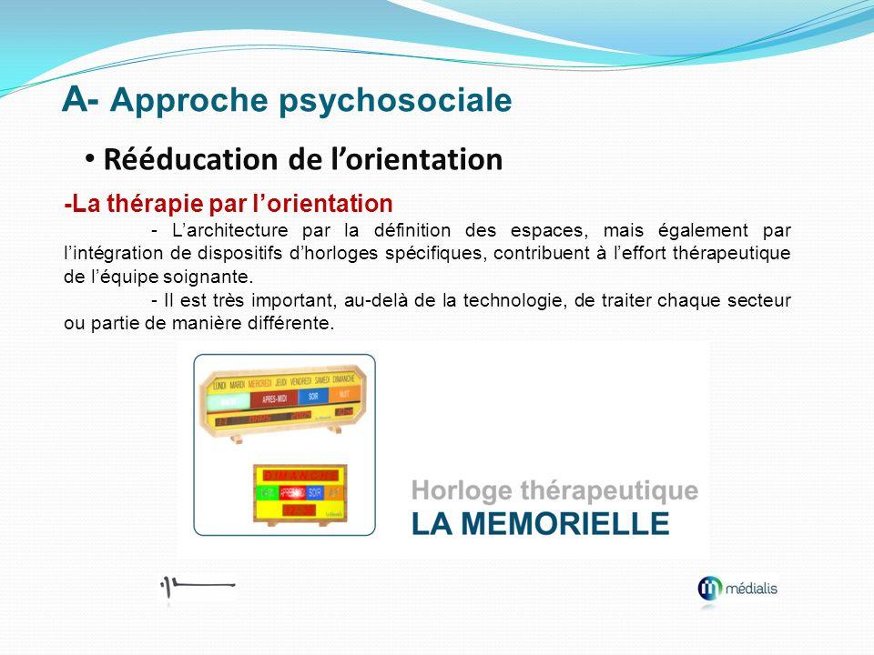 A- Approche psychosociale Rééducation de lorientation -La thérapie par lorientation - Larchitecture par la définition des espaces, mais également par