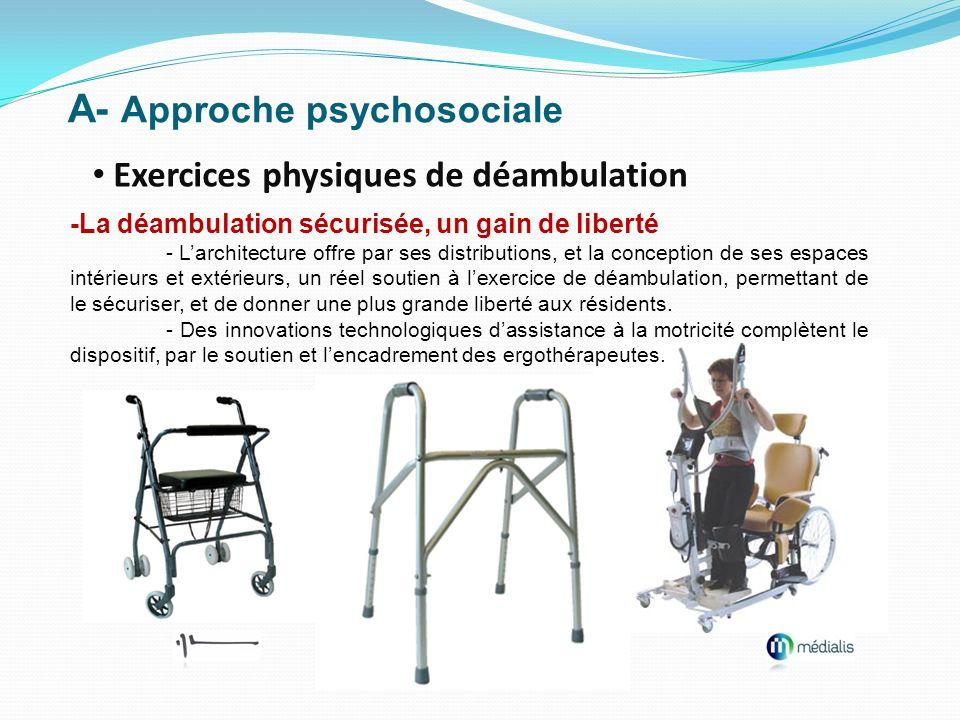 A- Approche psychosociale Exercices physiques de déambulation -La déambulation sécurisée, un gain de liberté - Larchitecture offre par ses distributio