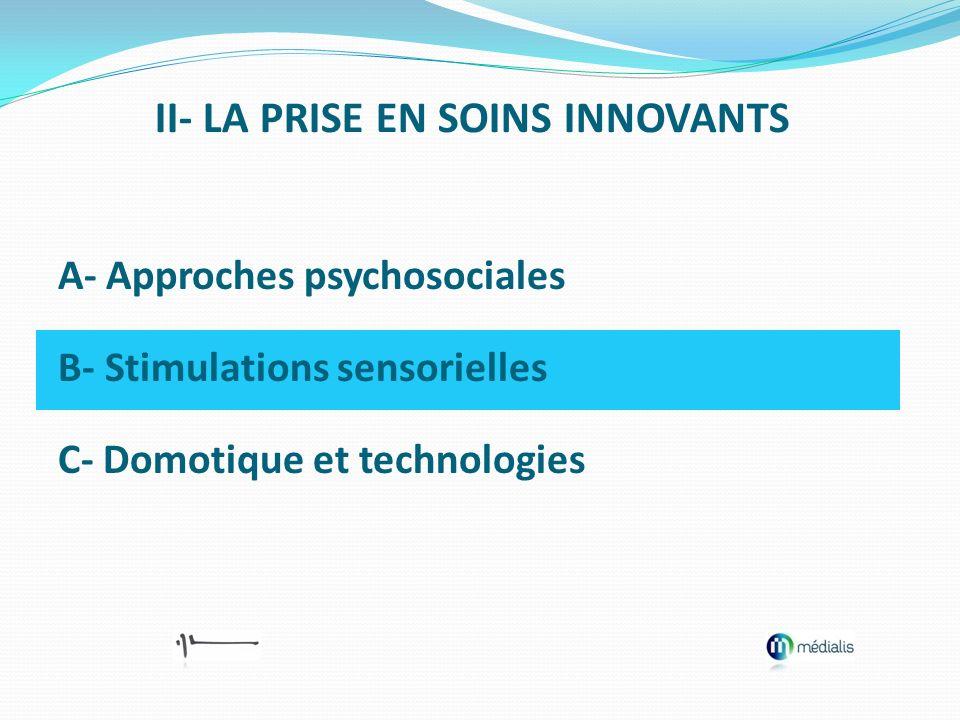 A- Approches psychosociales B- Stimulations sensorielles C- Domotique et technologies II- LA PRISE EN SOINS INNOVANTS