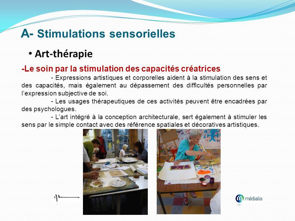 A- Stimulations sensorielles Art-thérapie -Le soin par la stimulation des capacités créatrices - Expressions artistiques et corporelles aident à la st