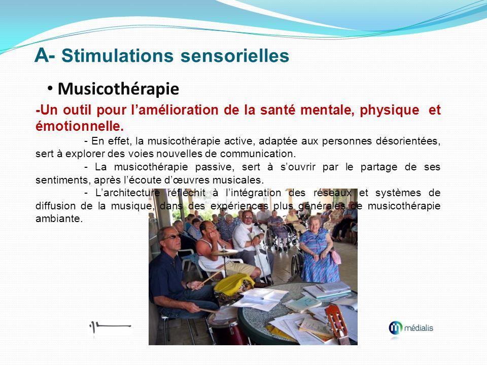 A- Stimulations sensorielles Musicothérapie -Un outil pour lamélioration de la santé mentale, physique et émotionnelle. - En effet, la musicothérapie