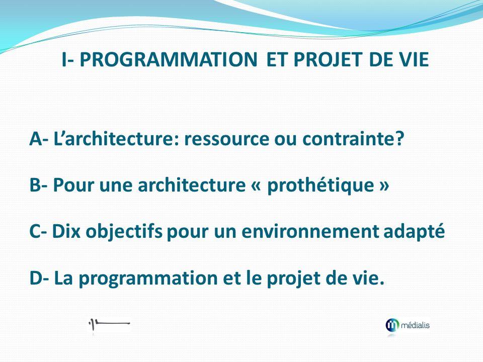 A- Larchitecture: ressource ou contrainte? B- Pour une architecture « prothétique » C- Dix objectifs pour un environnement adapté D- La programmation