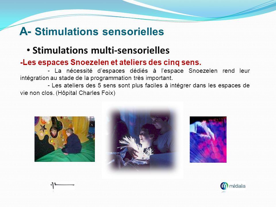 A- Stimulations sensorielles Stimulations multi-sensorielles -Les espaces Snoezelen et ateliers des cinq sens. - La nécessité despaces dédiés à lespac