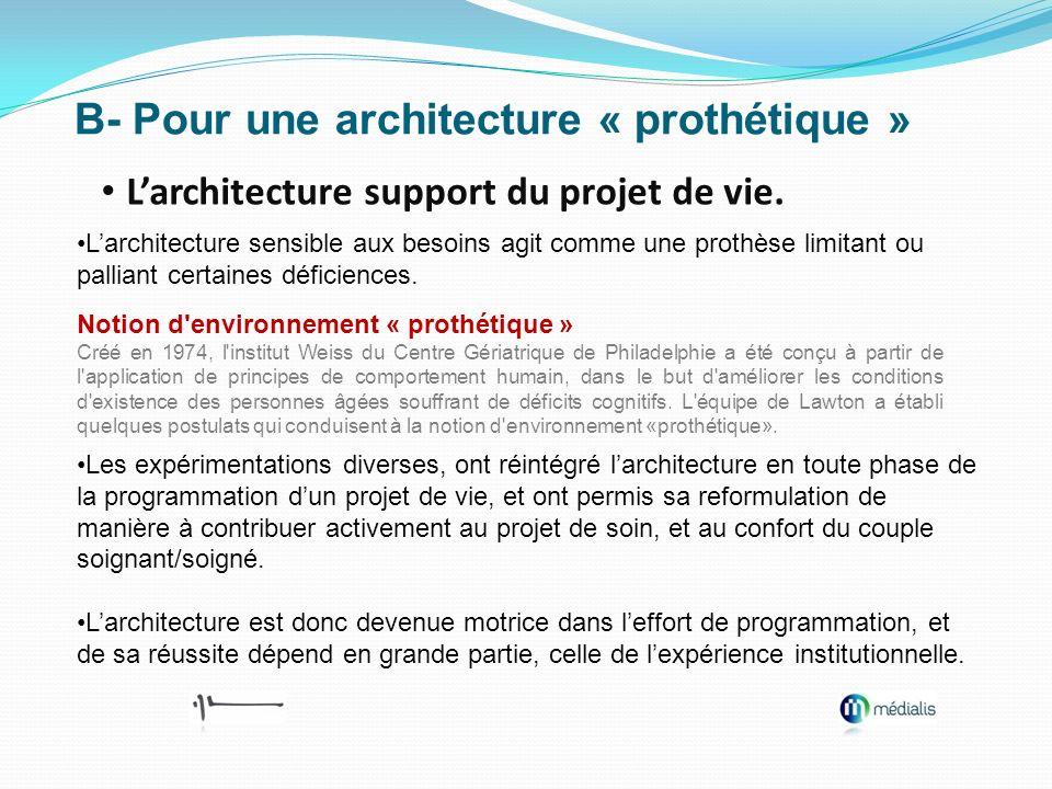 B- Pour une architecture « prothétique » Larchitecture support du projet de vie. Larchitecture sensible aux besoins agit comme une prothèse limitant o