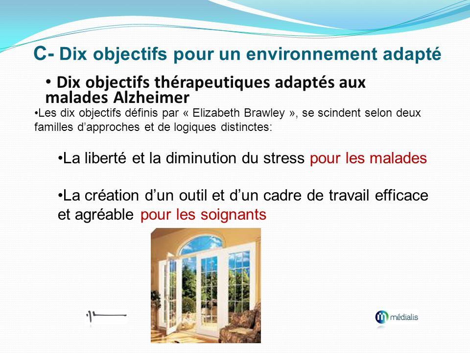 C- Dix objectifs pour un environnement adapté Dix objectifs thérapeutiques adaptés aux malades Alzheimer Les dix objectifs définis par « Elizabeth Bra