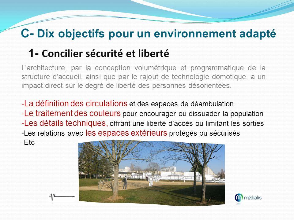 C- Dix objectifs pour un environnement adapté 1- Concilier sécurité et liberté Larchitecture, par la conception volumétrique et programmatique de la s