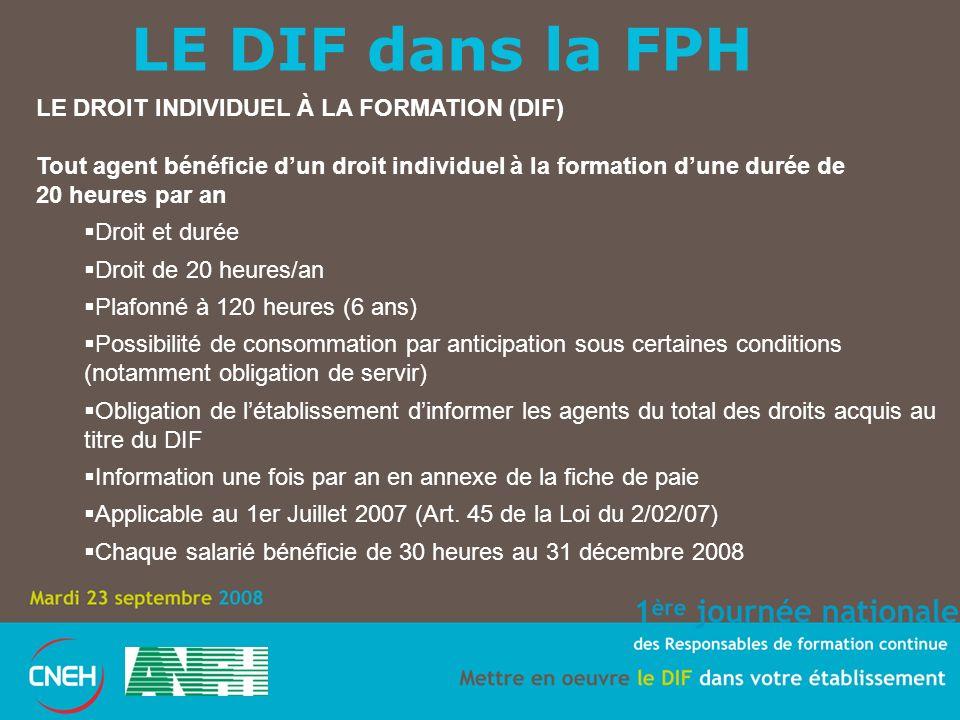 LE DIF dans la FPH LE DROIT INDIVIDUEL À LA FORMATION (DIF) Tout agent bénéficie dun droit individuel à la formation dune durée de 20 heures par an Dr