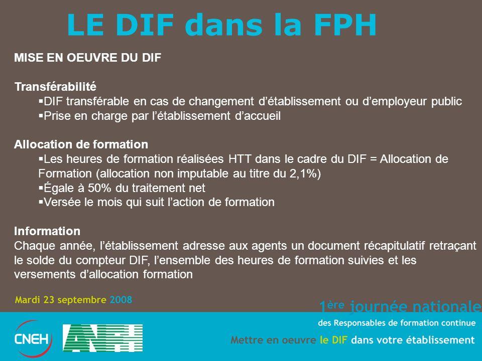 LE DIF dans la FPH MISE EN OEUVRE DU DIF Transférabilité DIF transférable en cas de changement détablissement ou demployeur public Prise en charge par