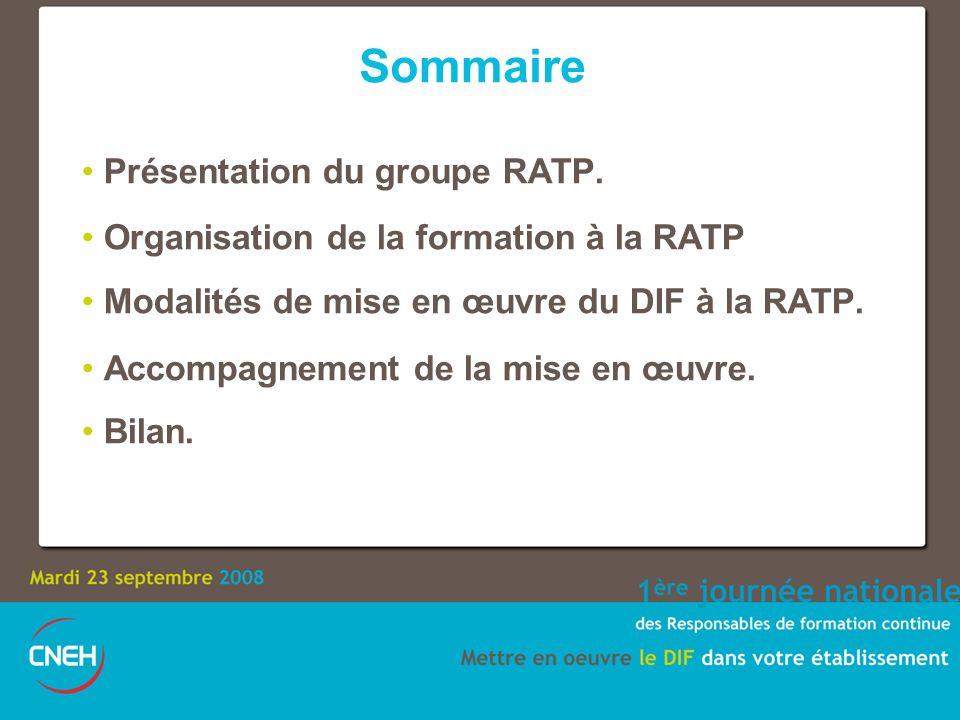 Sommaire Présentation du groupe RATP. Organisation de la formation à la RATP Modalités de mise en œuvre du DIF à la RATP. Accompagnement de la mise en