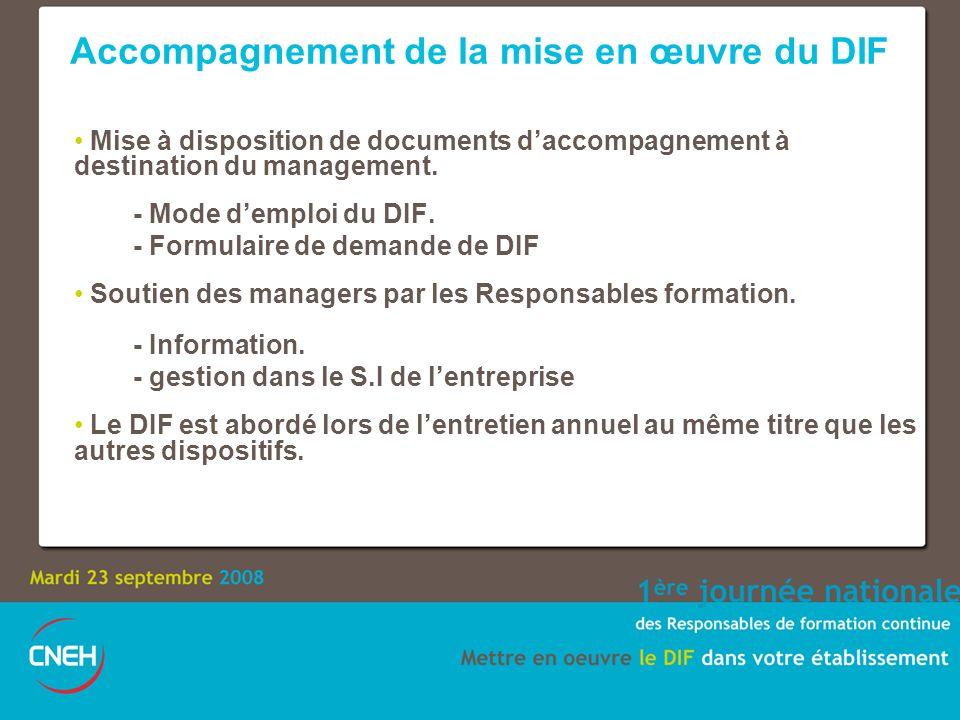 Mise à disposition de documents daccompagnement à destination du management. - Mode demploi du DIF. - Formulaire de demande de DIF Soutien des manager