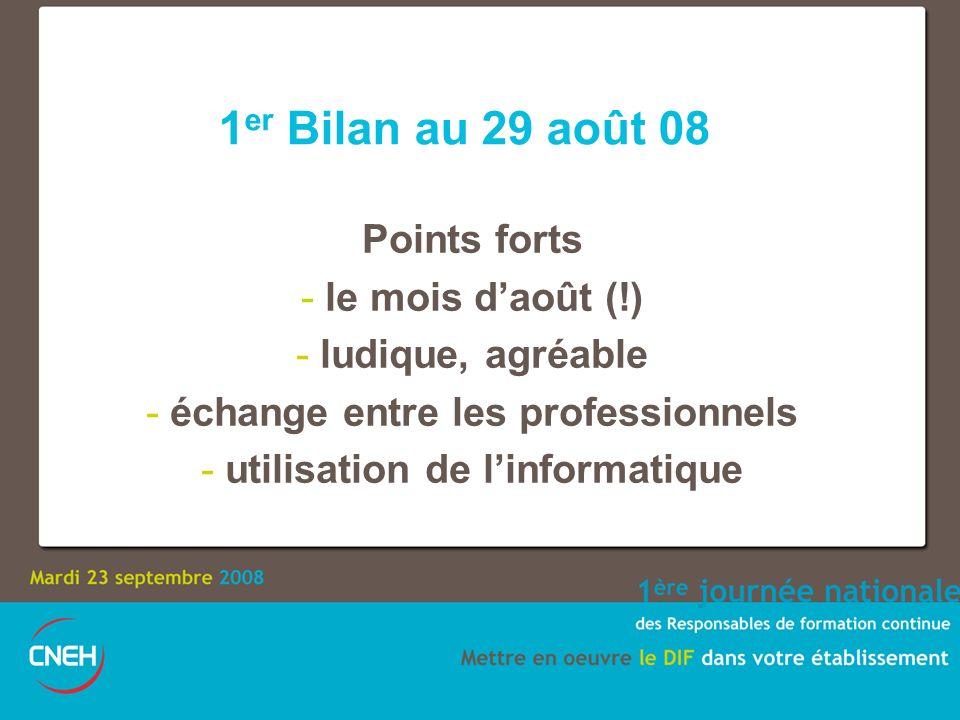 1 er Bilan au 29 août 08 Points forts - le mois daoût (!) - ludique, agréable - échange entre les professionnels - utilisation de linformatique
