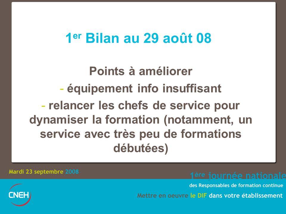 1 er Bilan au 29 août 08 Points à améliorer - équipement info insuffisant - relancer les chefs de service pour dynamiser la formation (notamment, un s