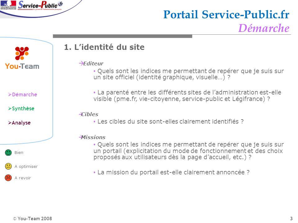 © You-Team 2008 Démarche Synthèse Analyse Bien A optimiser A revoir 3 Portail Service-Public.fr Démarche 1. Lidentité du site Editeur Quels sont les i