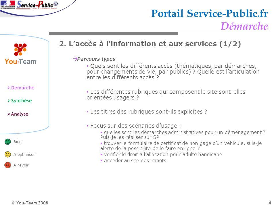 © You-Team 2008 Démarche Synthèse Analyse Bien A optimiser A revoir 4 Portail Service-Public.fr Démarche 2. Laccès à linformation et aux services (1/2