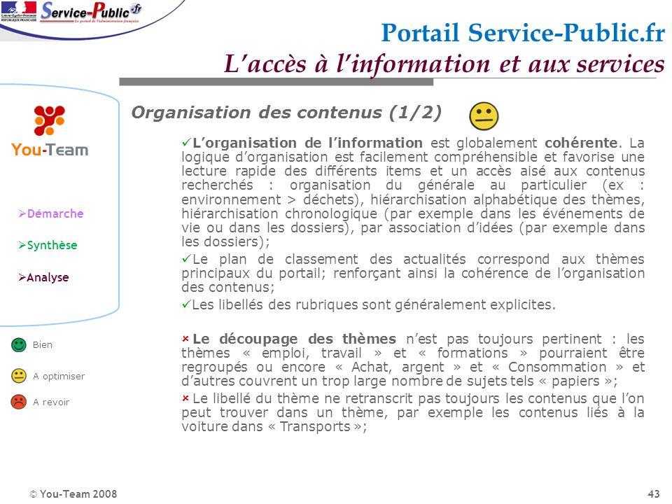 © You-Team 2008 Démarche Synthèse Analyse Bien A optimiser A revoir 43 Portail Service-Public.fr Laccès à linformation et aux services Organisation de