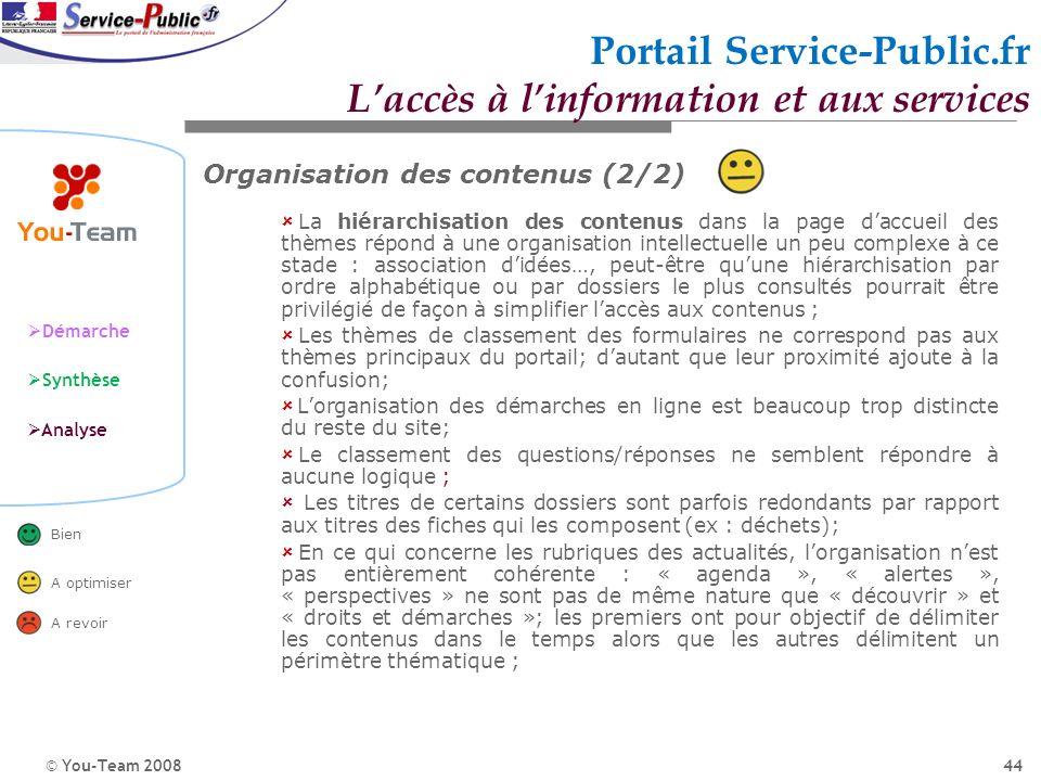 © You-Team 2008 Démarche Synthèse Analyse Bien A optimiser A revoir 44 Portail Service-Public.fr Laccès à linformation et aux services Organisation de