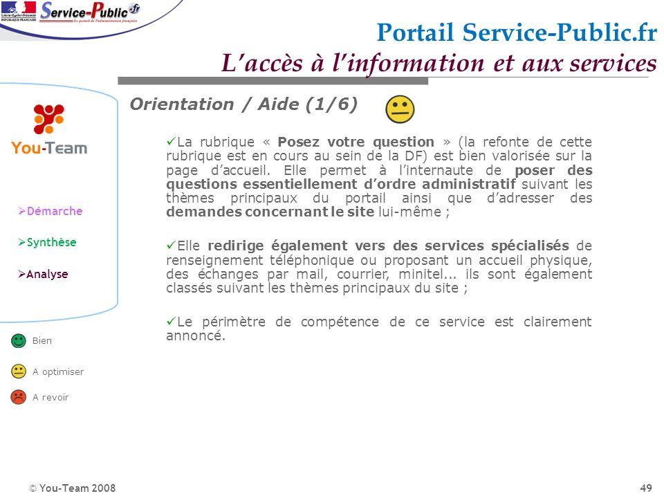 © You-Team 2008 Démarche Synthèse Analyse Bien A optimiser A revoir 49 Orientation / Aide (1/6) La rubrique « Posez votre question » (la refonte de ce