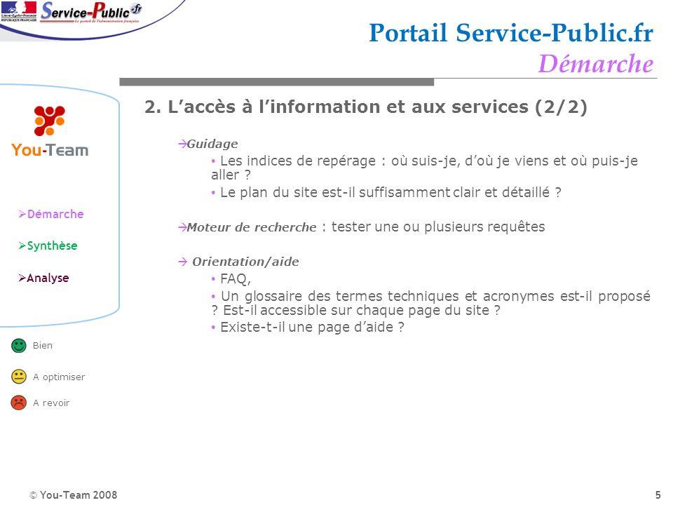 © You-Team 2008 Démarche Synthèse Analyse Bien A optimiser A revoir 5 Portail Service-Public.fr Démarche 2. Laccès à linformation et aux services (2/2