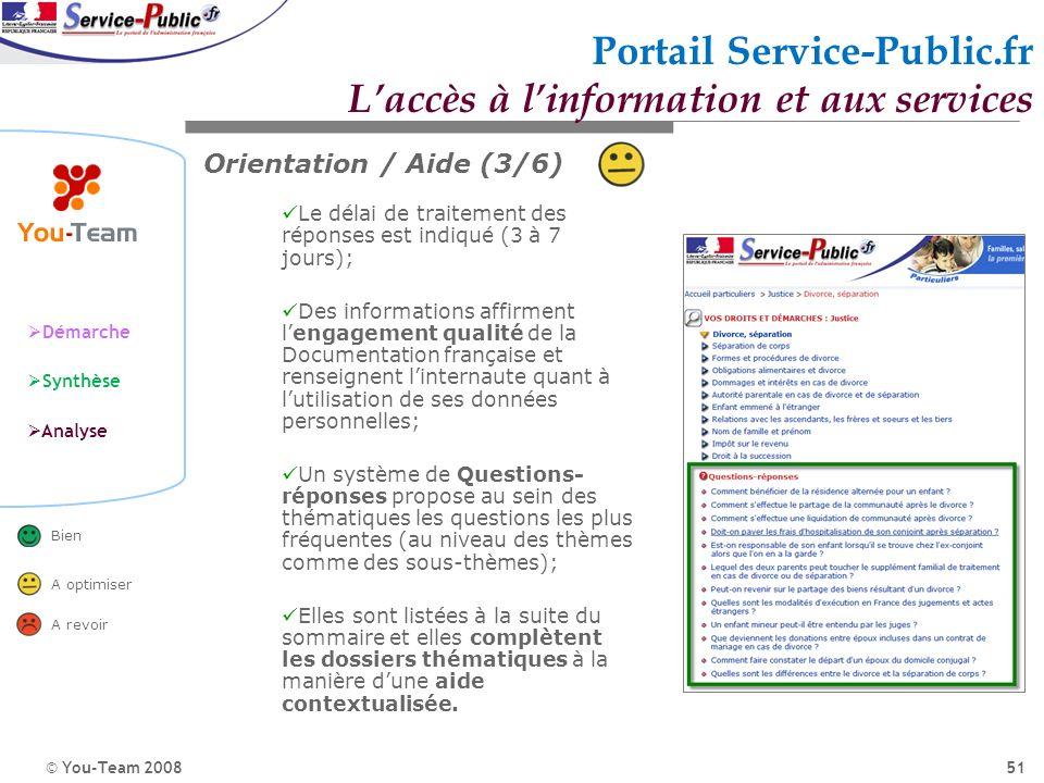 © You-Team 2008 Démarche Synthèse Analyse Bien A optimiser A revoir 51 Portail Service-Public.fr Laccès à linformation et aux services Orientation / A