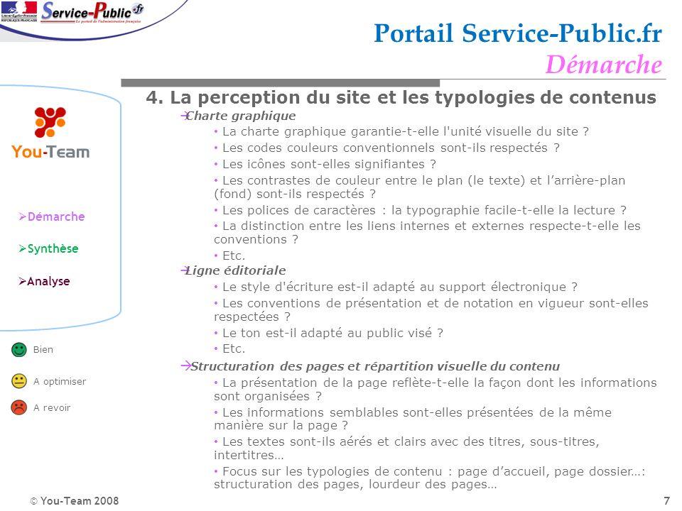 © You-Team 2008 Démarche Synthèse Analyse Bien A optimiser A revoir 7 Portail Service-Public.fr Démarche 4. La perception du site et les typologies de