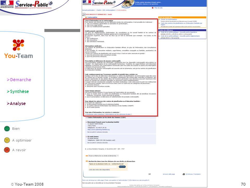 © You-Team 2008 Démarche Synthèse Analyse Bien A optimiser A revoir 70 Portail de ladministration publique La perception du site