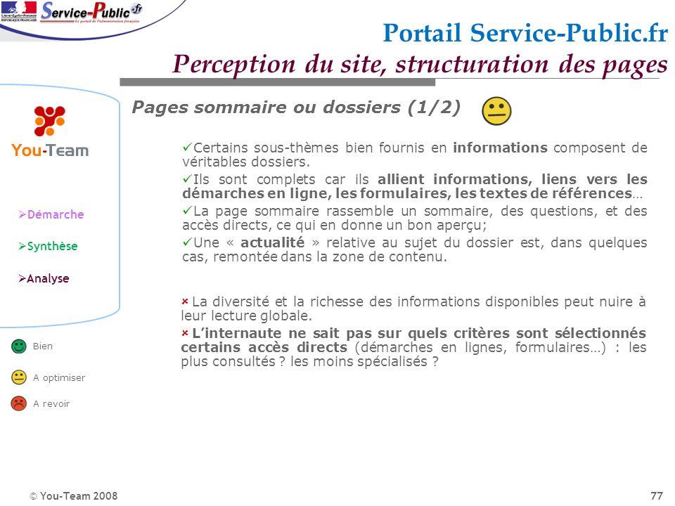 © You-Team 2008 Démarche Synthèse Analyse Bien A optimiser A revoir 77 Portail Service-Public.fr Perception du site, structuration des pages Pages som
