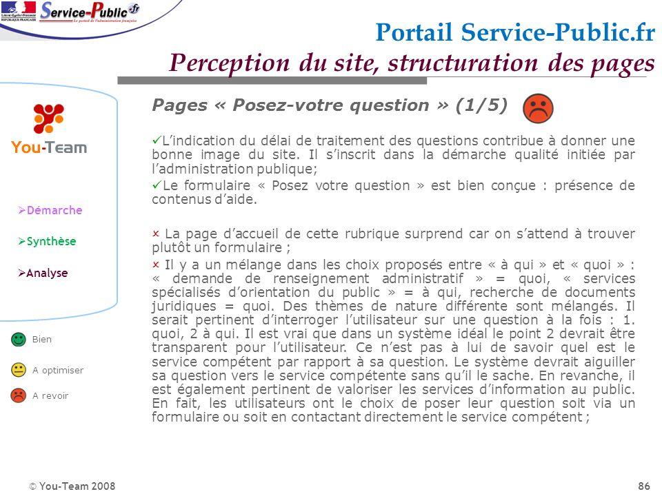 © You-Team 2008 Démarche Synthèse Analyse Bien A optimiser A revoir 86 Portail Service-Public.fr Perception du site, structuration des pages Pages « P