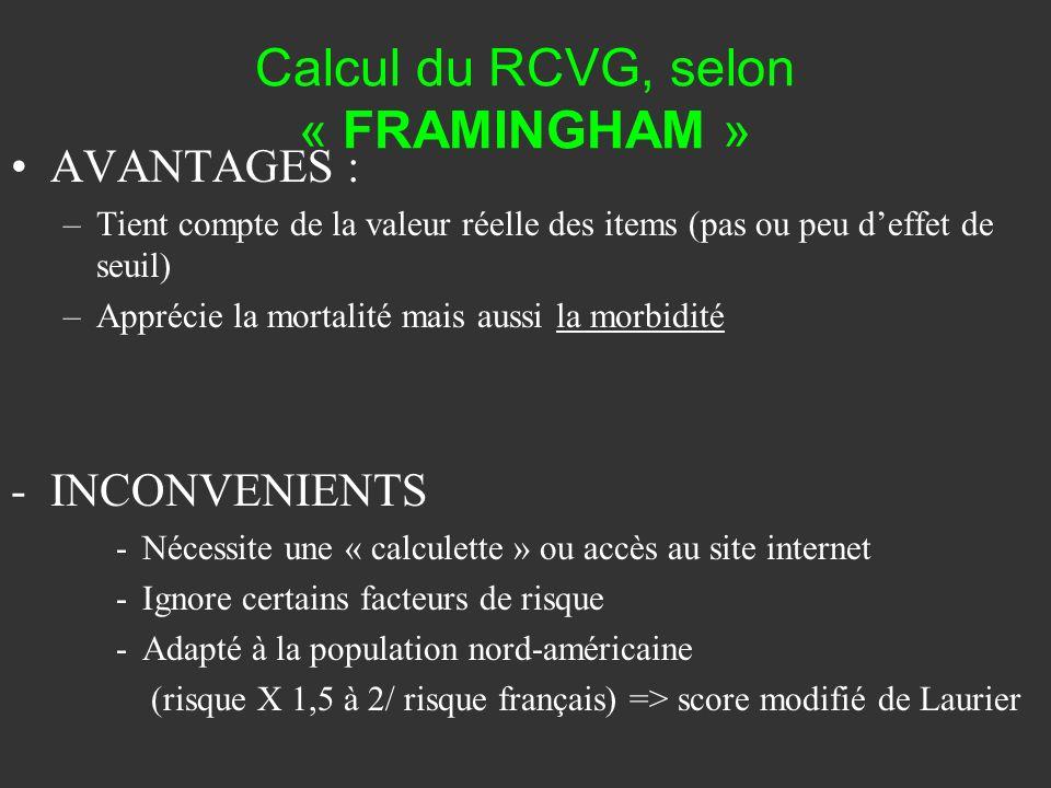 Calcul du RCVG, selon « FRAMINGHAM » AVANTAGES : –Tient compte de la valeur réelle des items (pas ou peu deffet de seuil) –Apprécie la mortalité mais