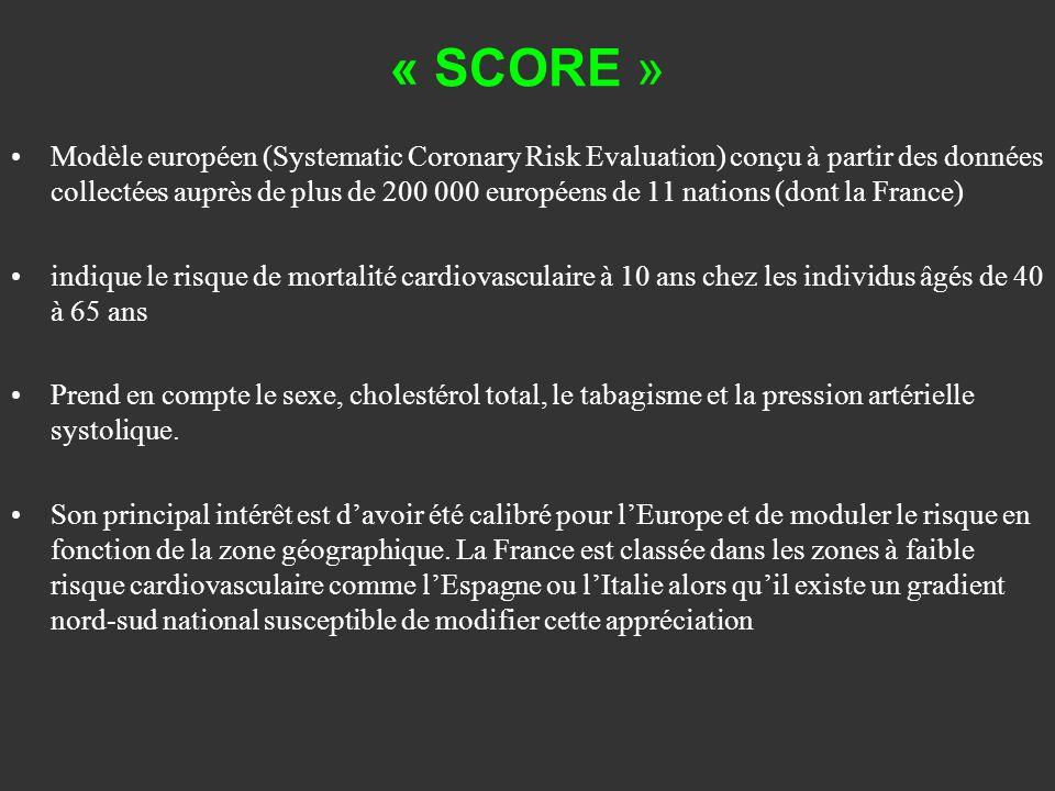 « SCORE » Modèle européen (Systematic Coronary Risk Evaluation) conçu à partir des données collectées auprès de plus de 200 000 européens de 11 nation