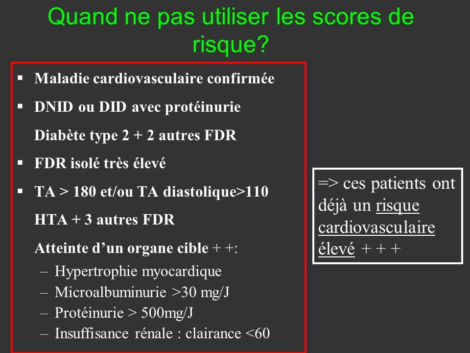 Quand ne pas utiliser les scores de risque? Maladie cardiovasculaire confirmée DNID ou DID avec protéinurie Diabète type 2 + 2 autres FDR FDR isolé tr