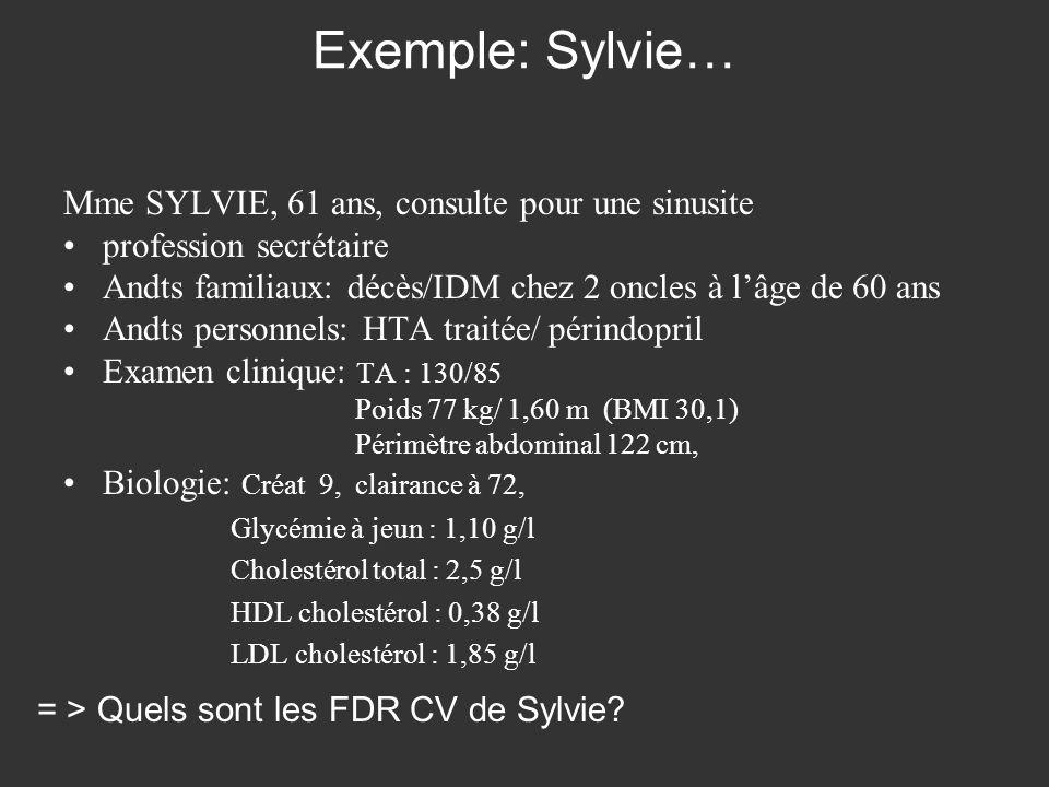 Exemple: Sylvie… Mme SYLVIE, 61 ans, consulte pour une sinusite profession secrétaire Andts familiaux: décès/IDM chez 2 oncles à lâge de 60 ans Andts