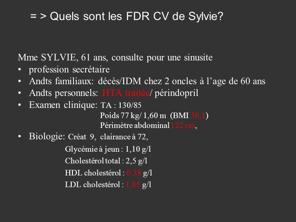 Mme SYLVIE, 61 ans, consulte pour une sinusite profession secrétaire Andts familiaux: décès/IDM chez 2 oncles à lage de 60 ans Andts personnels: HTA t