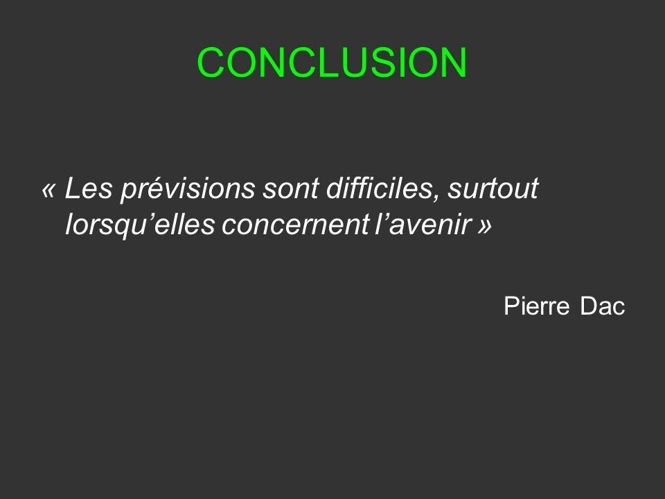 CONCLUSION « Les prévisions sont difficiles, surtout lorsquelles concernent lavenir » Pierre Dac