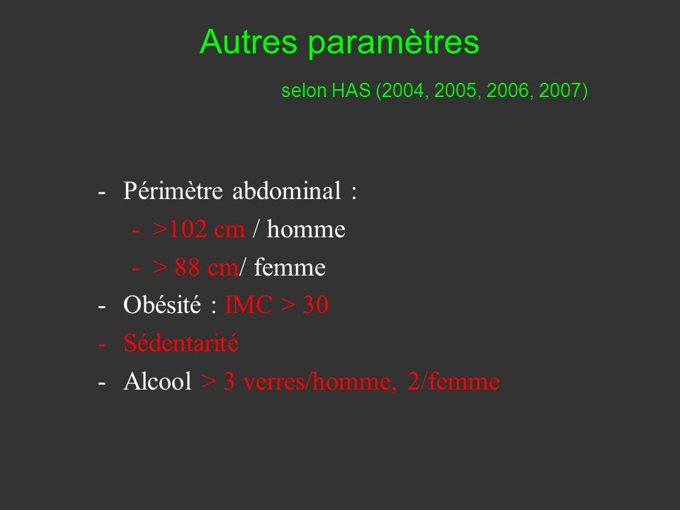 Atteinte dun organe cible selon HAS (2004, 2005, 2006, 2007) -Hypertrophie ventriculaire -Microalbuminurie >30 mg/J -Proteinurie > 500 mg/J -Clearance rénale < 60 ml/min