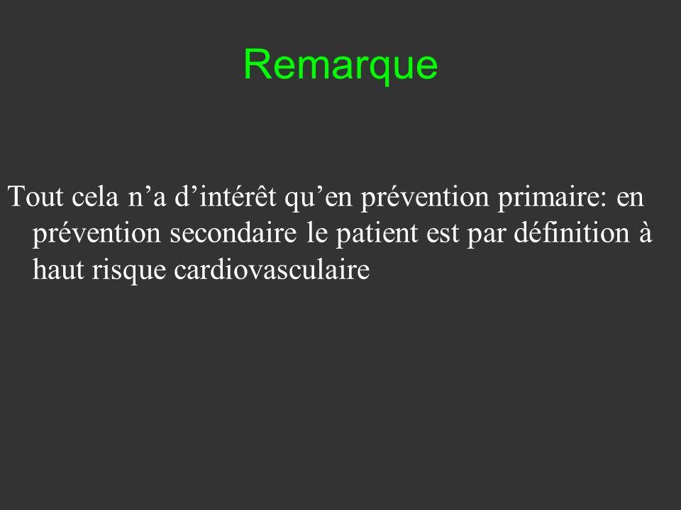 Remarque Tout cela na dintérêt quen prévention primaire: en prévention secondaire le patient est par définition à haut risque cardiovasculaire