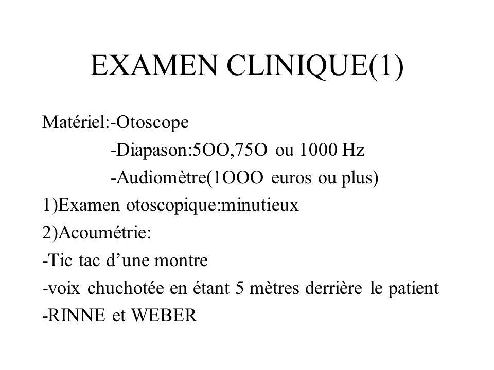 EXAMEN CLINIQUE(1) Matériel:-Otoscope -Diapason:5OO,75O ou 1000 Hz -Audiomètre(1OOO euros ou plus) 1)Examen otoscopique:minutieux 2)Acoumétrie: -Tic t