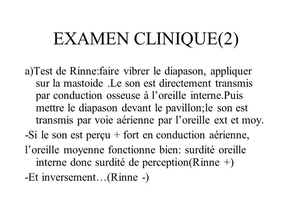 EXAMEN CLINIQUE(2) a)Test de Rinne:faire vibrer le diapason, appliquer sur la mastoide.Le son est directement transmis par conduction osseuse à loreil
