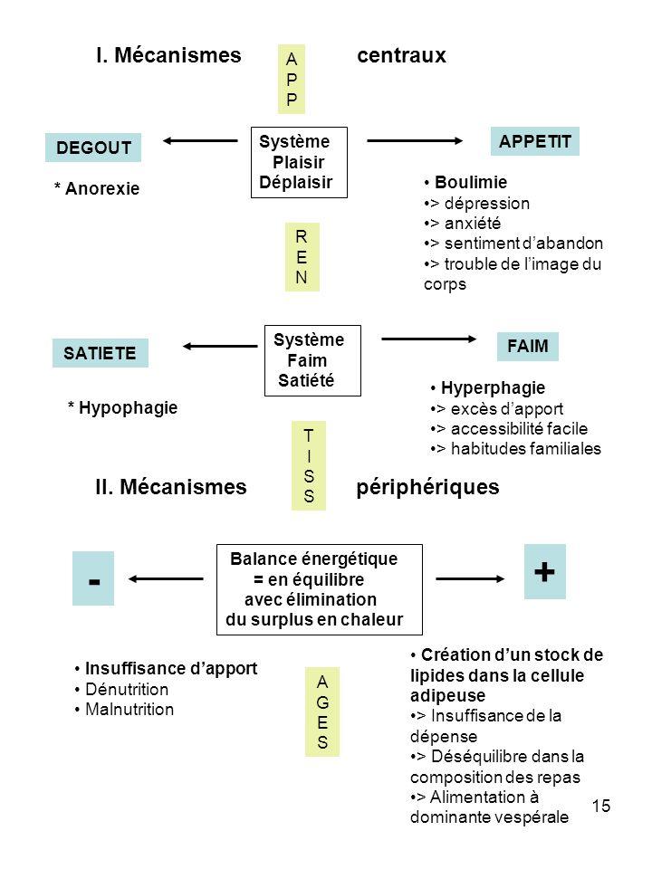 15 I. Mécanismes centraux DEGOUT APPETIT Système Plaisir Déplaisir Système Faim Satiété Balance énergétique = en équilibre avec élimination du surplus