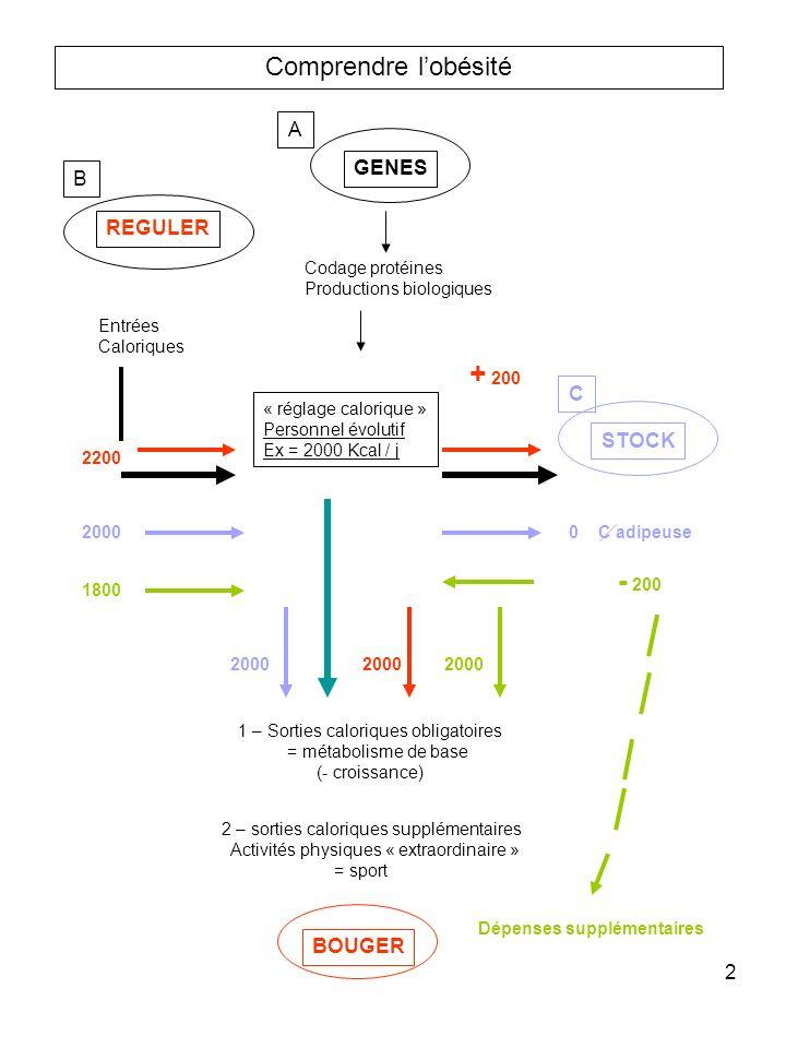 2 Comprendre lobésité GENES REGULER A B Codage protéines Productions biologiques Entrées Caloriques 2200 2000 1800 « réglage calorique » Personnel évo