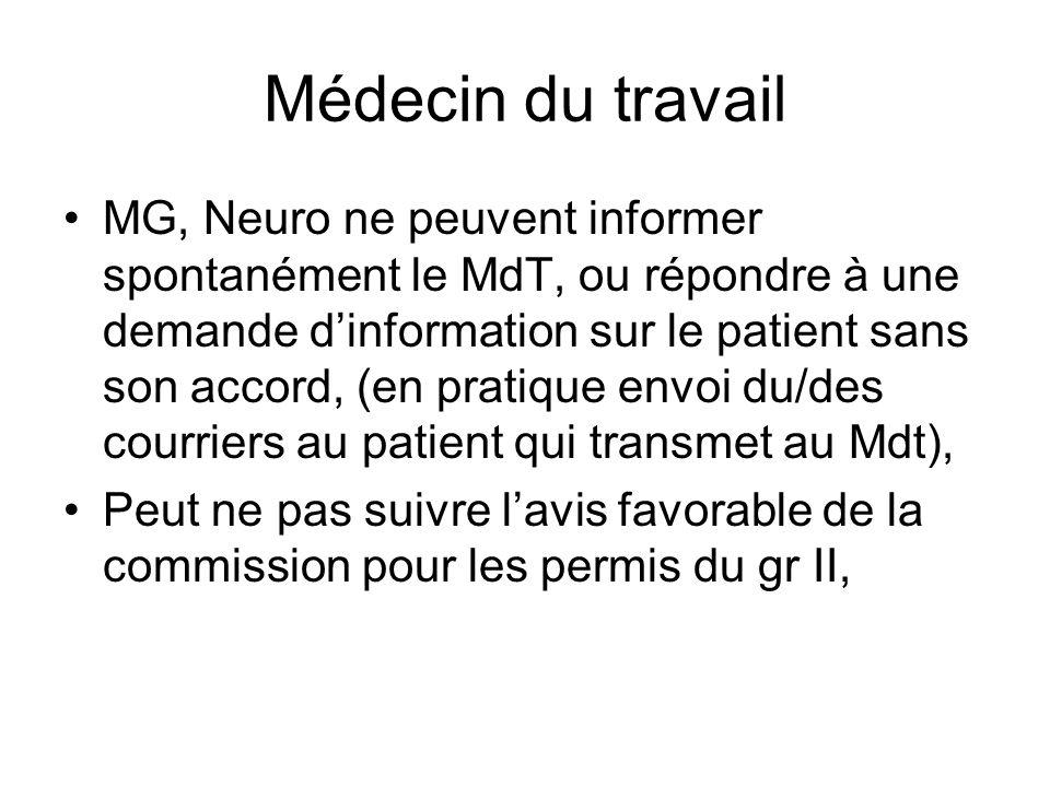 Médecin du travail MG, Neuro ne peuvent informer spontanément le MdT, ou répondre à une demande dinformation sur le patient sans son accord, (en prati