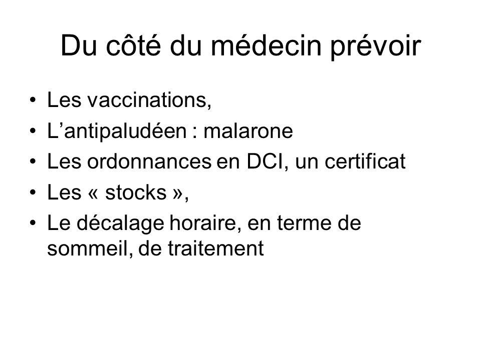 Du côté du médecin prévoir Les vaccinations, Lantipaludéen : malarone Les ordonnances en DCI, un certificat Les « stocks », Le décalage horaire, en te