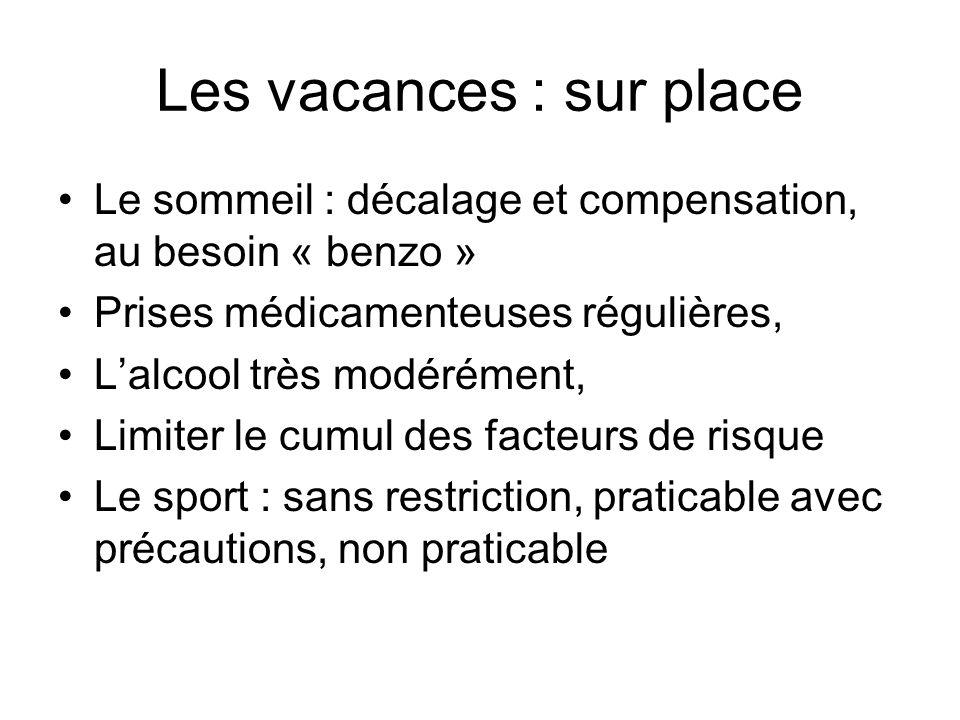 Les vacances : sur place Le sommeil : décalage et compensation, au besoin « benzo » Prises médicamenteuses régulières, Lalcool très modérément, Limite