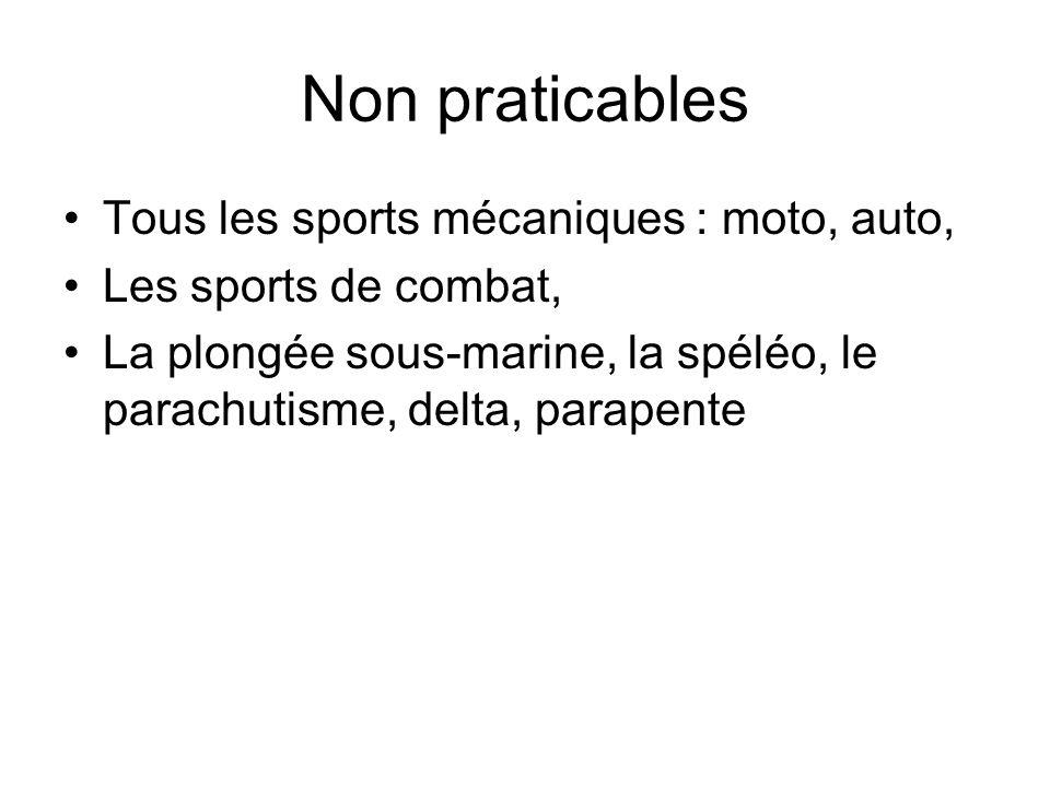 Non praticables Tous les sports mécaniques : moto, auto, Les sports de combat, La plongée sous-marine, la spéléo, le parachutisme, delta, parapente