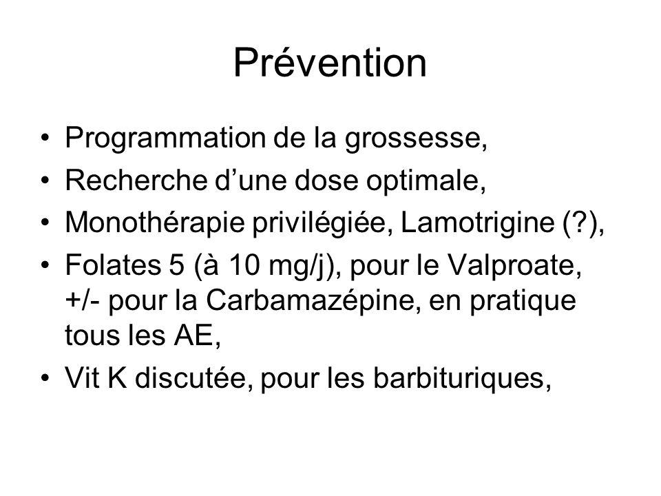 Prévention Programmation de la grossesse, Recherche dune dose optimale, Monothérapie privilégiée, Lamotrigine (?), Folates 5 (à 10 mg/j), pour le Valp