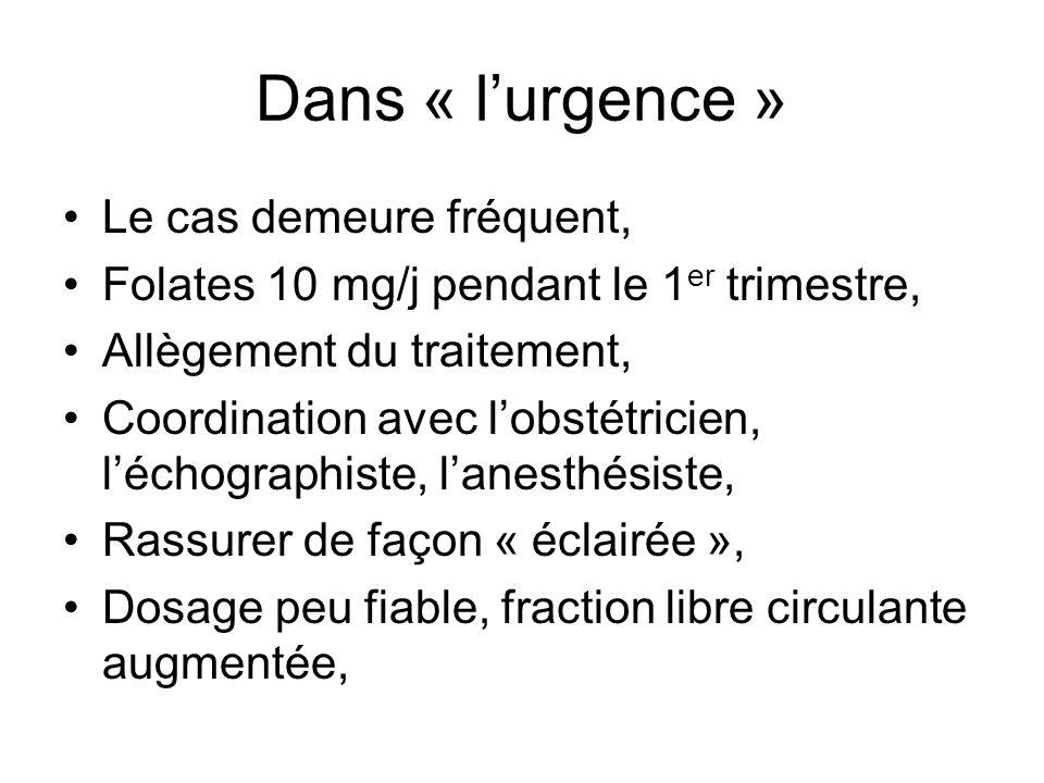 Dans « lurgence » Le cas demeure fréquent, Folates 10 mg/j pendant le 1 er trimestre, Allègement du traitement, Coordination avec lobstétricien, lécho