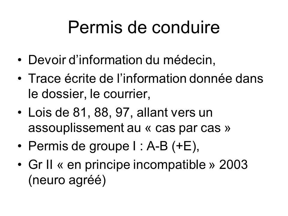 Permis de conduire Devoir dinformation du médecin, Trace écrite de linformation donnée dans le dossier, le courrier, Lois de 81, 88, 97, allant vers u