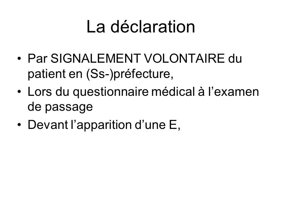 La déclaration Par SIGNALEMENT VOLONTAIRE du patient en (Ss-)préfecture, Lors du questionnaire médical à lexamen de passage Devant lapparition dune E,
