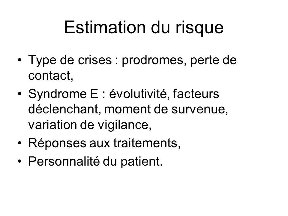 Estimation du risque Type de crises : prodromes, perte de contact, Syndrome E : évolutivité, facteurs déclenchant, moment de survenue, variation de vi